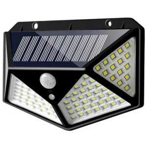 100 LED-es mozgásérzékelős kültéri napelemes fali LED lámpa