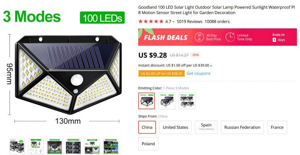 100 ledes kültéri LED lámpa