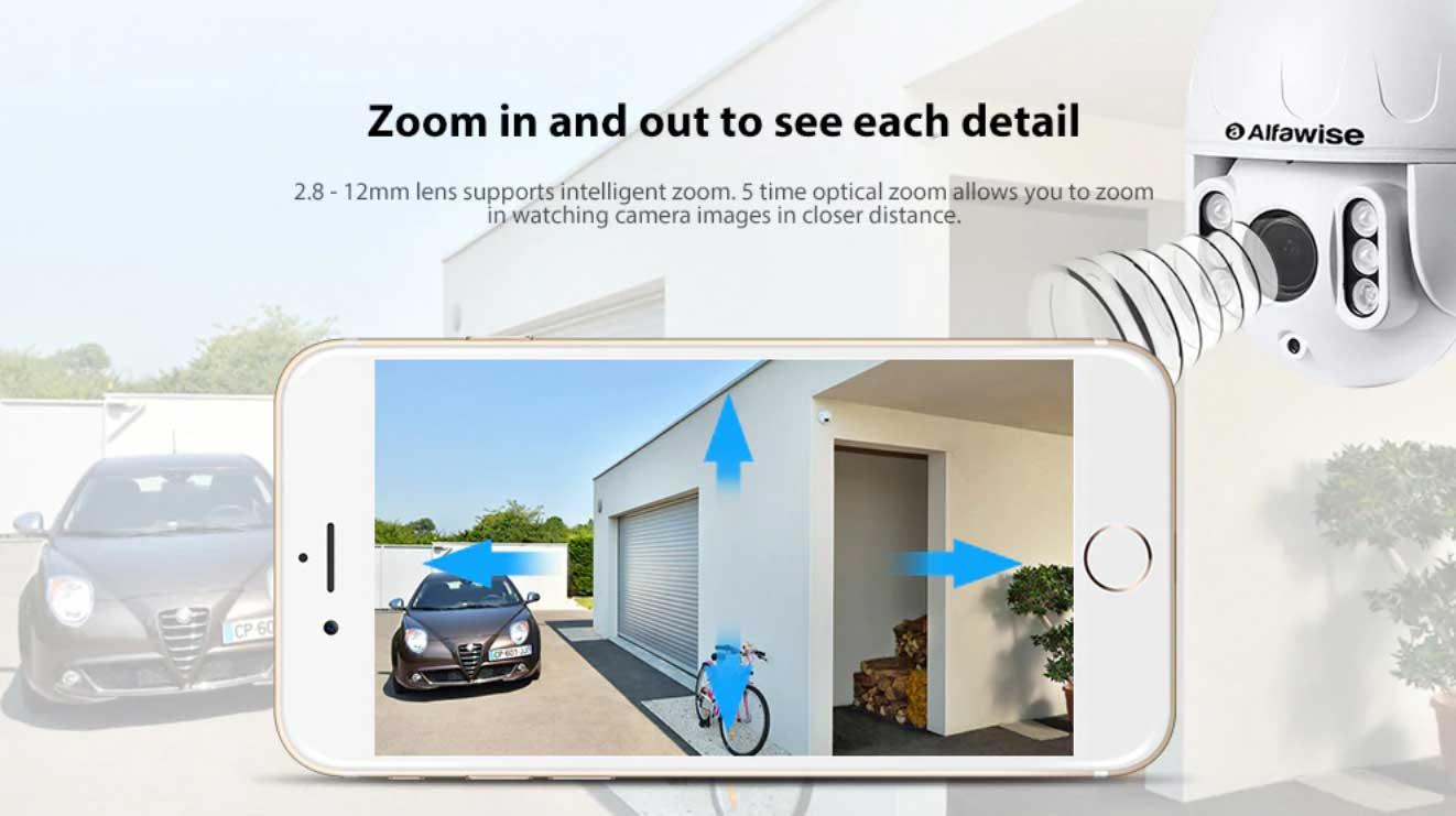 kültéri WiFi IP kamera optikai és digitális zoom