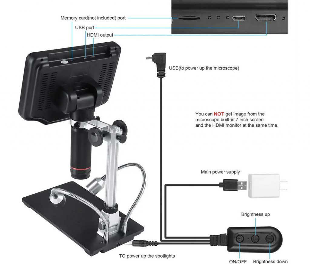 Andonstar AD407 digitális mikroszkóp HDMI bemenet