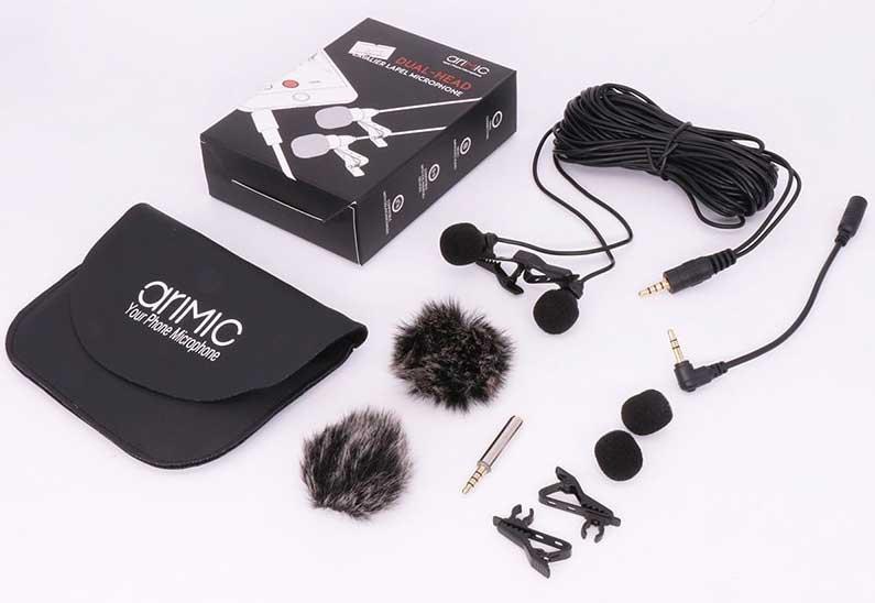 AriMic csiptetős dupla mikrofon csomag tartalma