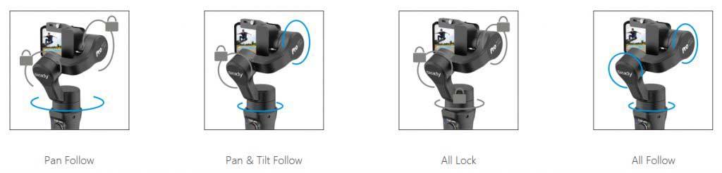 Hohem iSteady Pro 2 gimbal módok