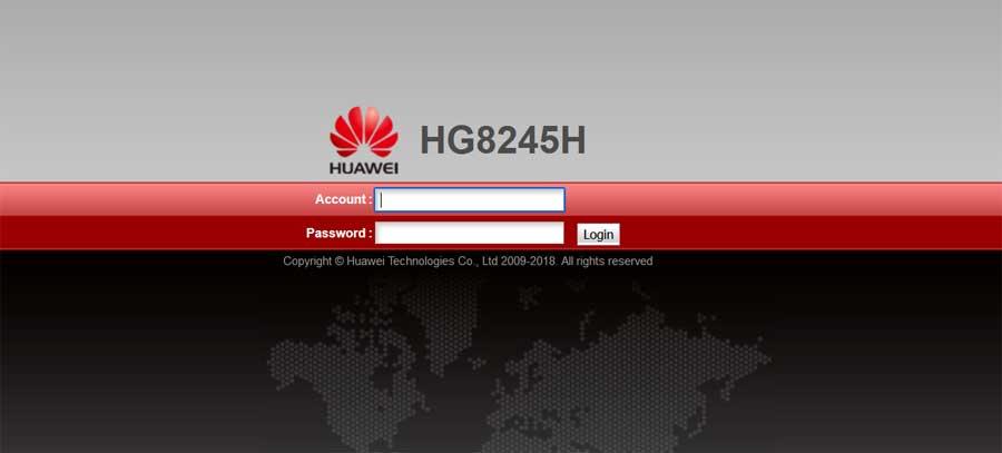 Huawei HG8245H router admin belépés