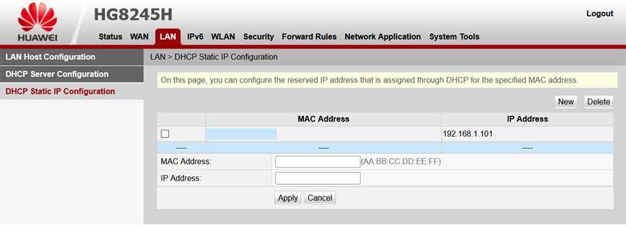 Huawei HG8245H router DHCP statikus IP cím beállítása