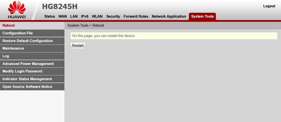 Huawei HG8245H router újraindítása restart