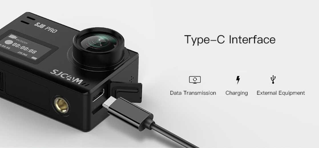 SJCAM SJ8 Pro akciókamera teszt - Type-C csatlakozó