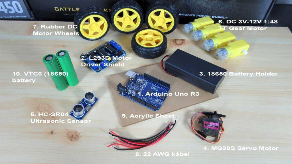 Arduino akadály elkerülő robot autó alkatrészek