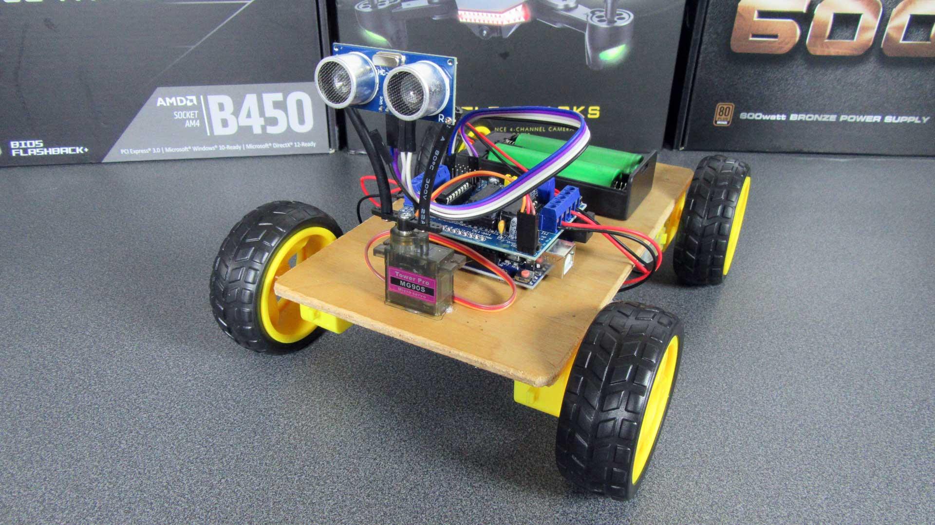 Arduino akadály elkerülő robot autó prototípus