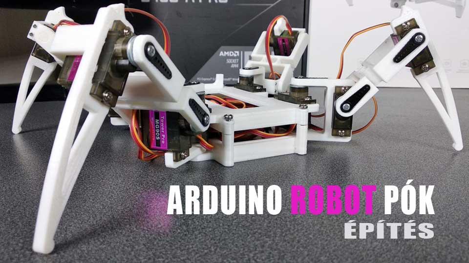 Arduino Nano 3D nyomtatott robot pók építés