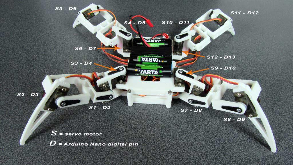 Arduino Nano robot pók servo motor bekötés