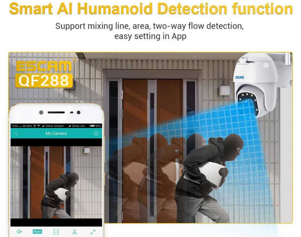 ESCAM QF288 WiFi IP kamera Humanoid Detection