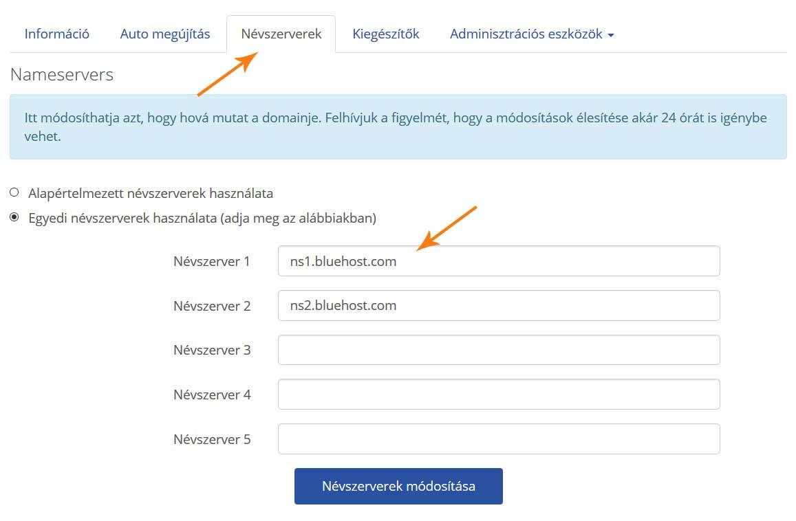 domain név szerver beállítások