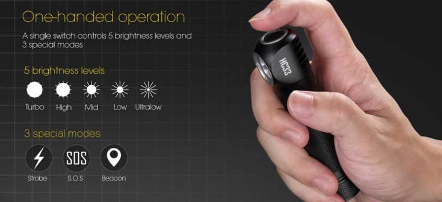 Nitecore HC33 LED fejlámpa teszt fényerő módok