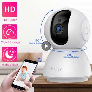 SDETER Beltéri 1080P WiFi IP kamera kupon